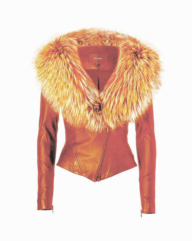 The amazing Jitrois black leather jacket with silver fox fur collar made brown with red fox fur collar.