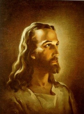 This is the picture of Jesus that was in my Sunday School room when I was a little girl ...