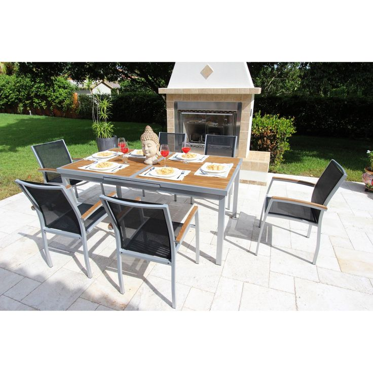 outdoor bellini home and gardens galliano 7 piece patio dining set a51407t