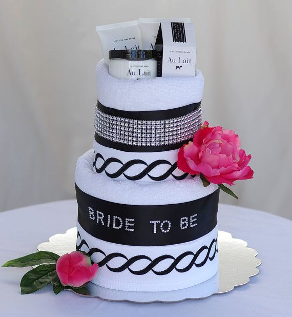 "The ""BRIDE TO BE"" Towel Cake. Makes a perfect Bridal Shower Gift or Centerpiece."