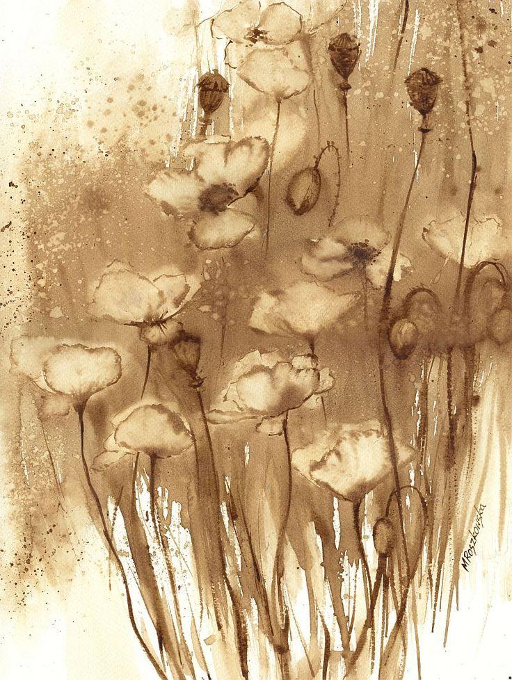 Maczki - watercolour painted with coffee - Maria Roszkowska