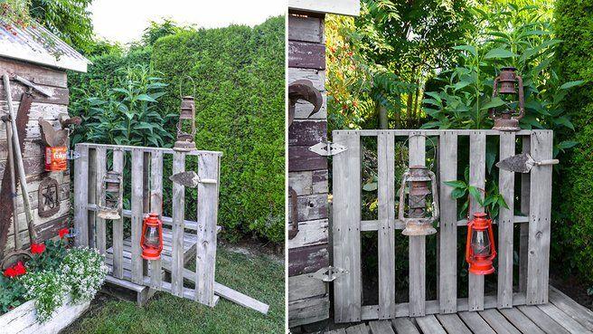 Porte et pont en palettes de bois