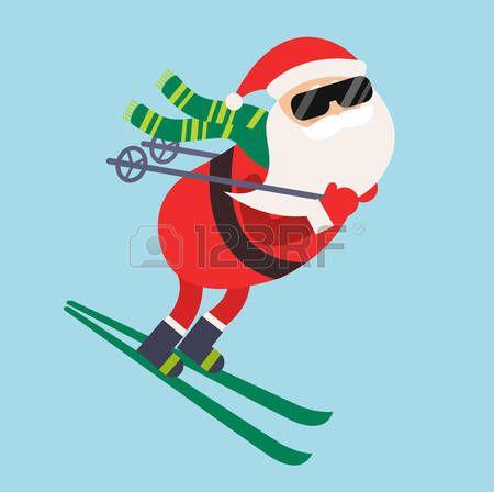 Santa de dibujos animados ilustración de deportes de invierno. Santa Claus ilustración de esquí competencia de ejecución. Juego de deportes de invierno. Papá estilo de vida saludable, el paño de santa, Santa sombrero rojo, Santa esquí. Santa Claus vector deportista Foto de archivo - 48857415