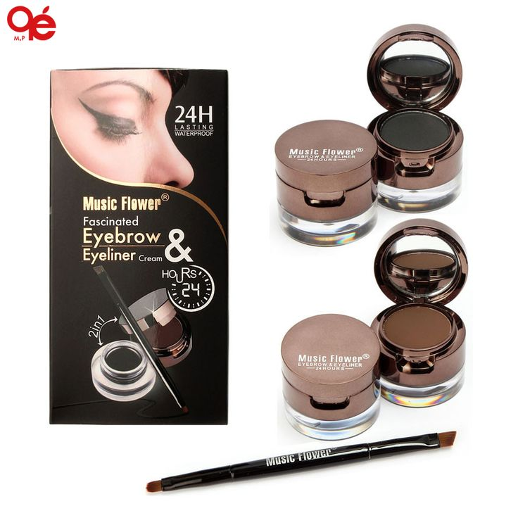 Pro 4 in 1 Oogmake-up Set Gel Eyeliner Bruin + zwart Wenkbrauw Poeder Make Up Waterdicht En Smudge-proof Eyeliner Kit