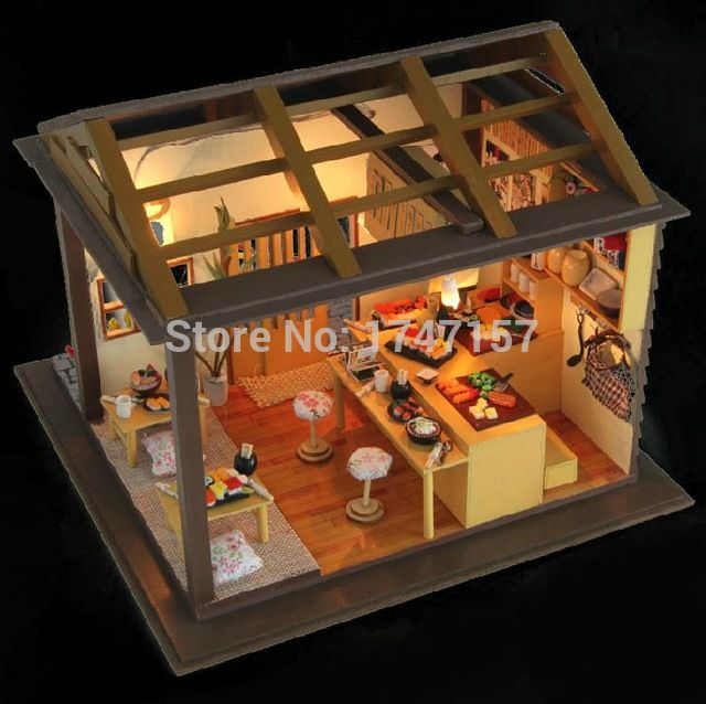 special dollhouse kitchen furniture 1x12. diy dollhouse wooden doll house japanese sushi bar miniature model kit furniture food accessories girls christmas special kitchen 1x12