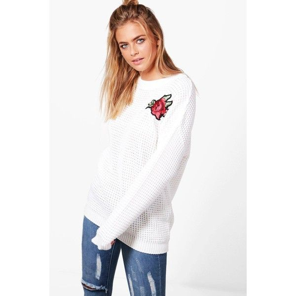 Boohoo Olivia Floral Embroidered Jumper ($22) ❤ liked on Polyvore featuring tops, sweaters, white jumper, white sequin top, chunky knit sweater, white wrap sweater and chunky white sweater
