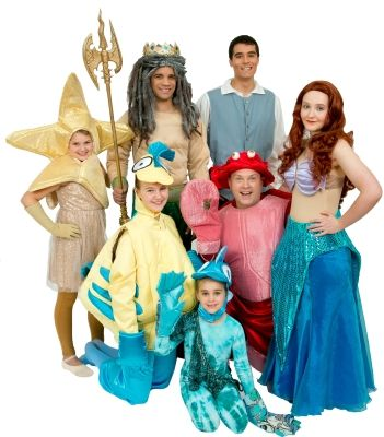 Little Mermaid Costume Rentals (Star Fish, King Triton, Prince Eric, Flounder, Sebastian, Ariel, Fish) built by The Costumer