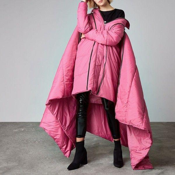 River Island Pink Ashish puffer sleeping bag coat ($360) ❤ liked on Polyvore featuring outerwear, coats, coats / jackets, pink, women, river island coats, funnel-neck coats, oversized padded coat, padded coat and oversized coat