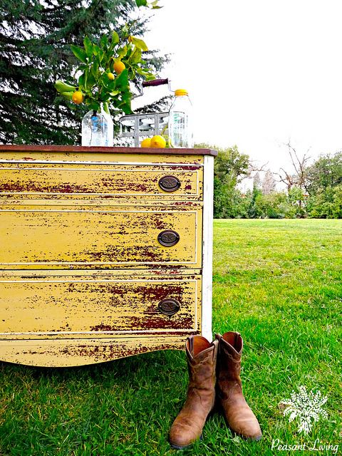 Chippy Yellow Dresser 16 by nikkiribs in Mustard Seed Yellow