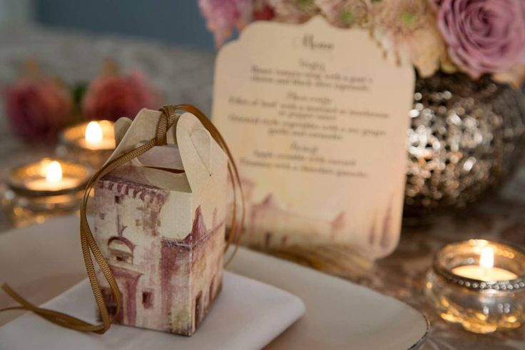 French country wedding favour boxes. Custom watercolour printed designs. Perfect for truffles, nougat or macarons. Styling by Jani Venter. Photo by Rikki Hibbert. Flowers by Diamonds & Pearls Event Styling.