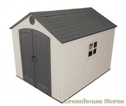 Lifetime 8x10 Plastic Shed  http://www.greenhousestores.co.uk/Lifetime-10x8-Plastic-Shed.htm