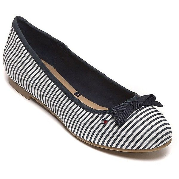 Tommy Hilfiger Stripe Ballet Flat ($69) ❤ liked on Polyvore featuring shoes, flats, tommy hilfiger shoes, skimmer shoes, flat pumps, flat heel shoes and ballet flats