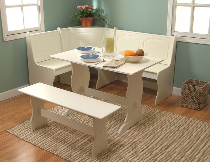 Kitchen Trendy White Wooden Laminate Breakfast Nook White