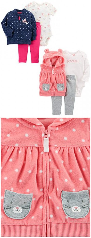Carter's Baby Girls' 6-Piece Jacket and Vest Set, Denim Quilted/Pink Dot, 6 Months