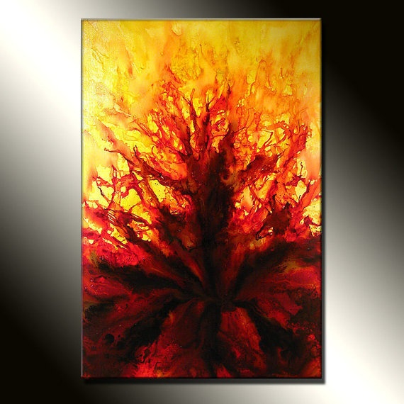 Original Abstract painting Contemporary  Red  by newwaveartgallery, $750.00