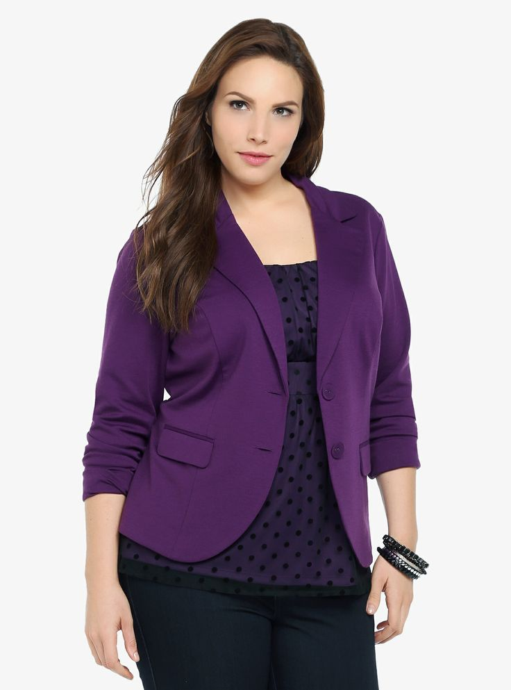 We took the down-to-business blazer, re-imagined it in a stunning amethyst purple hue, and then tailored it to fit perfectly. Flap pockets. Two-button closure.