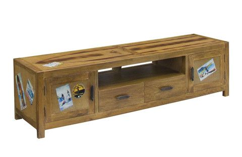 The Surf Entertainment Unit is inspired by vintage surf culture. The timber used for the solid timber frame is sustainable mango wood. The top, end and door panels feature hessian fabric protected by a thick finish of fibreglass and is decorated with vintage surf stickers. The drawer and door handles are shaped like a surfboards.  Width: 170cm Depth: 45cm Height: 45cm