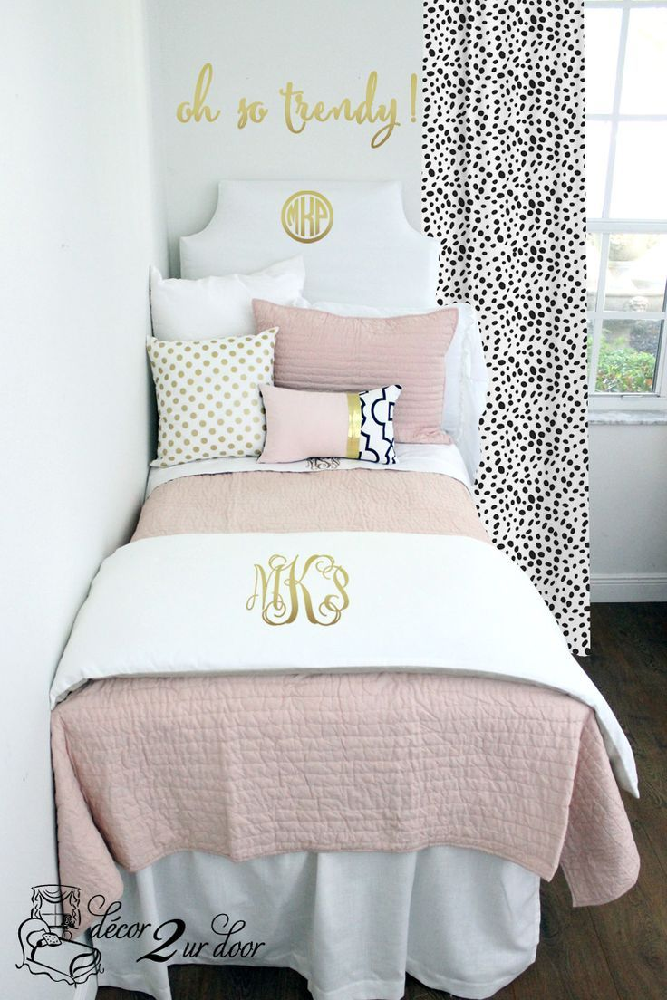 Bed sheets for teenagers - Cool Blush White Pop Of Black Dorm Teen Designer Bedding Set By Http
