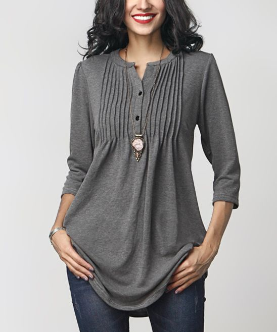 Reborn Collection Charcoal Notch Neck Pin Tuck Tunic | zulily