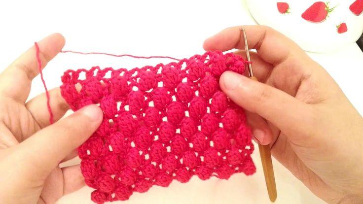غرز كروشيه جديدة بالباترون/ كروشي التوت االبرى 🍒الغرزة رقم #2 Crochet  S...