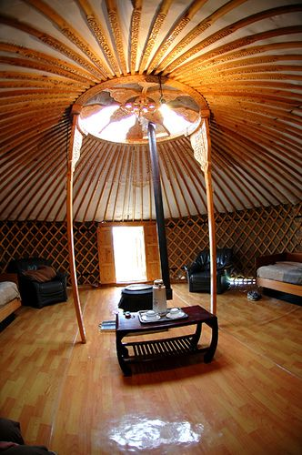 Mongolia :: Inside a Ger (tent). They've even got a wooden floor!