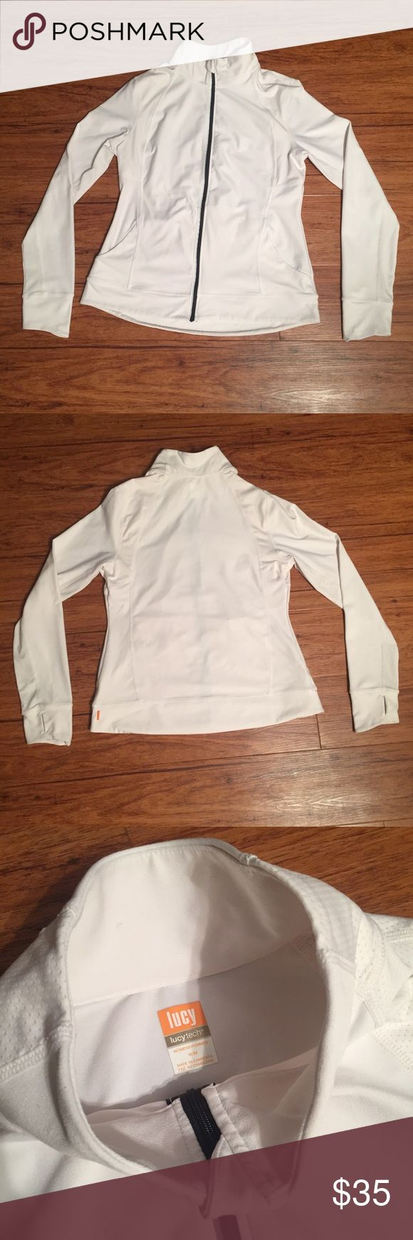 LUCY athletic jacket LUCY athletic jacket -IT HAS THUMB HOLES!!!! -absolutely AWESOME condition!! -there is a little tiny dot the smaller than the size of a period on the left sleeve, please see photo Lucy Tops Sweatshirts & Hoodies
