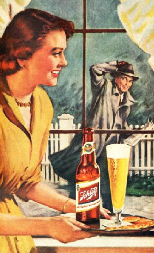 Welcoming Hubby home with a beer and a smile!……réepinglé par Maurie Daboux ⊰✿