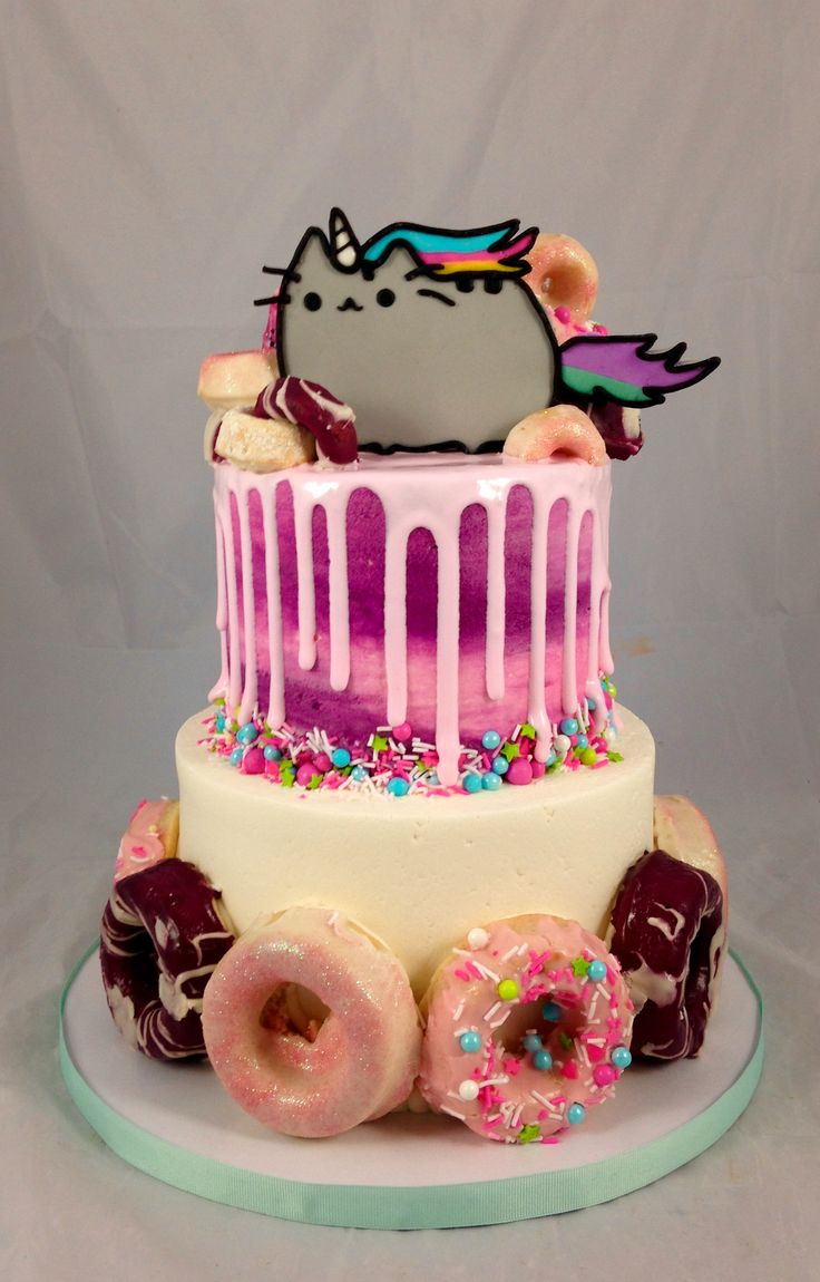 Pusheen Cake with glazed cake doughnuts