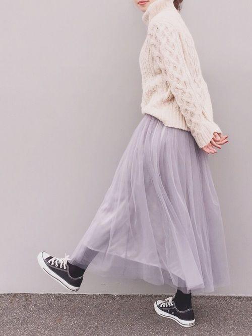 b8fe3a842e5 白ニットとチュールスカート♡ mimitoujoursさんでは2/9までWINTER SALEです☆