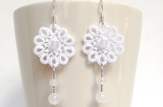 White tatted  lace earrings wedding  floral  tatted  by SILHUETTE, $20.00