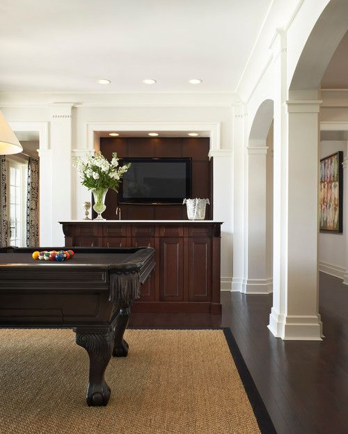 :: Havens South Designs :: loves this media/play area and its black felted pool table in a Miami home by Affiniti Architects.