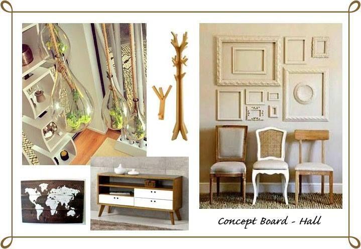 Projeto II - Decoração de Espaço Habitacional Concept Board: Hall de Entrada (Cliente Real) Estilo Rústico (Elementos mexicanos e náuticos)
