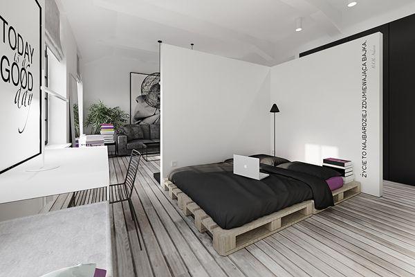 Lodz tobaco park loft 60m2 kuoo architects for 60m2 apartment design