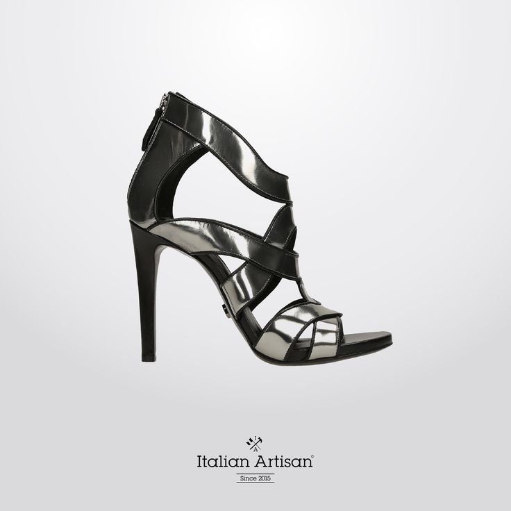 #BlackSandal in glass silver and steel with rounded shape that add finesse to any look, #stilettoHeel . It will be an essential addition to your #aw16 collection! #highheels #womenshoes #fashionboutique #madeinitaly #italianartisan