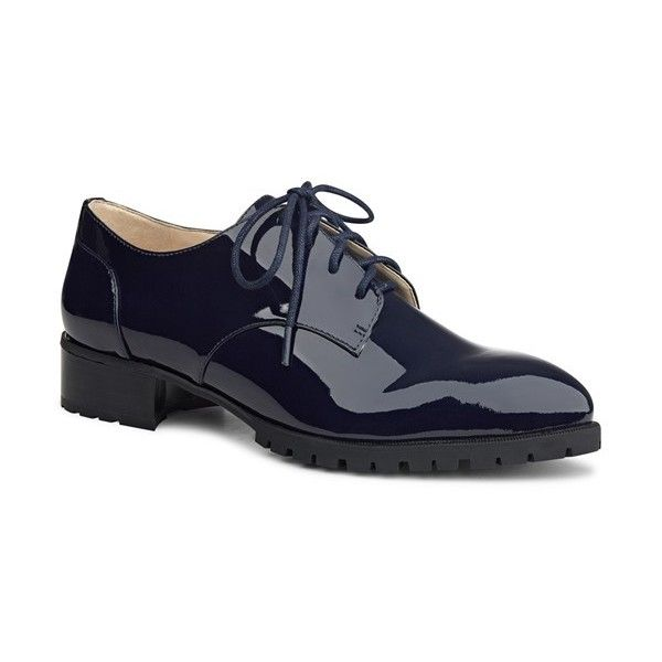 Women's Nine West 'Lilianne' Almond Toe Oxford (5.780 RUB) ❤ liked on Polyvore featuring shoes, oxfords, navy lux patent, navy patent leather shoes, navy patent shoes, navy blue patent shoes, patent leather oxfords and patent leather oxford shoes