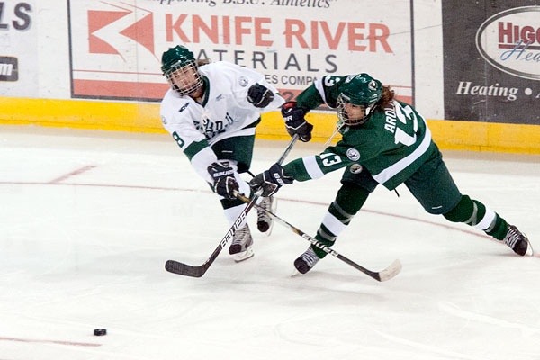 In the Green and White exhibition game! To read the game recap visit http://www.bsubeavers.com/whockey/news/2012-13/6045/team-white-holds-on-for-5-3-win-in-greenwhite-game/
