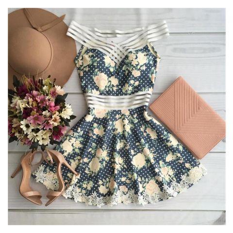 Lindo Vestido Feminino Curto Floral Majestosa Clássico e Meigo