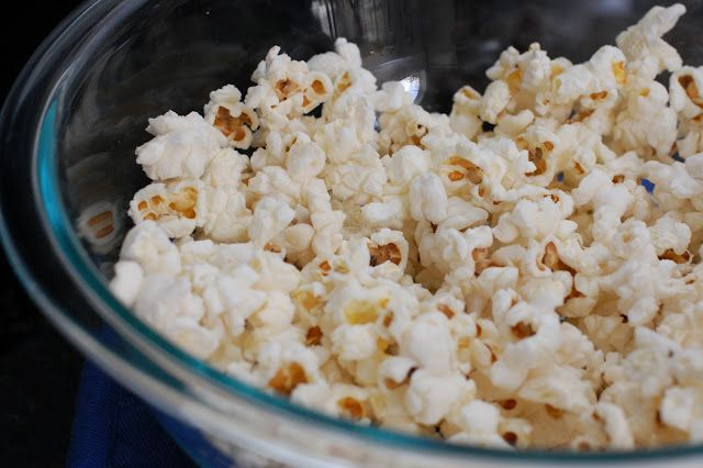 Homemade Microwave Popcorn in a Glass Bowl