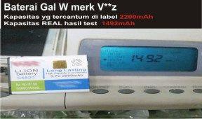Hasil test baterai double power merk Vizz lihat kapasitas baterai yag tertera dengan hasil uji test