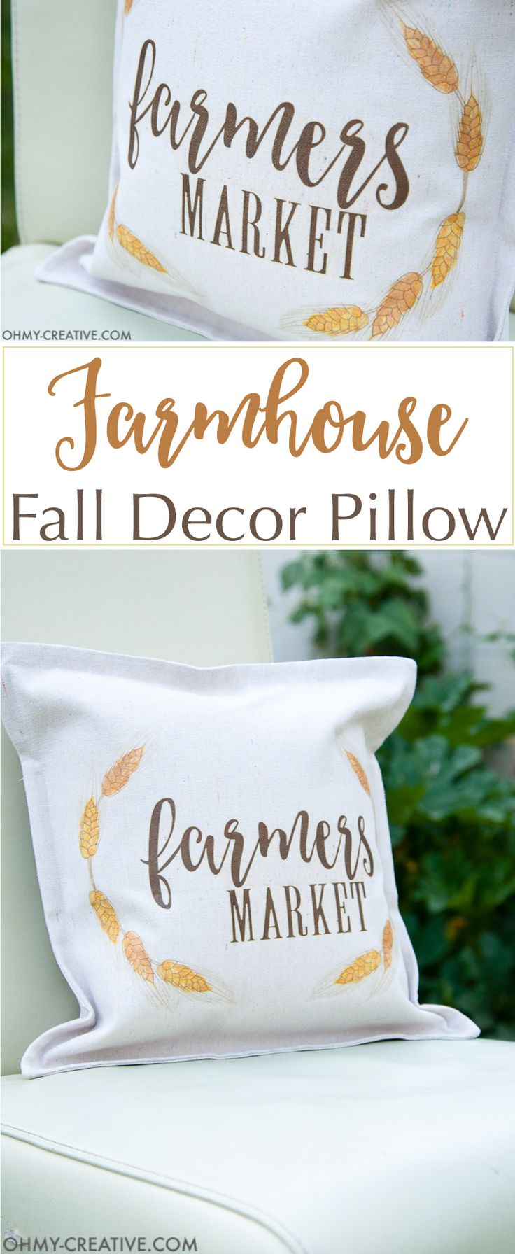 It's time to decorate your home for fall! Make this easy DIY farmhouse fall decor pillow in just a few minutes to celebrate the cooler weather.   OHMY-CREATIVE.COM