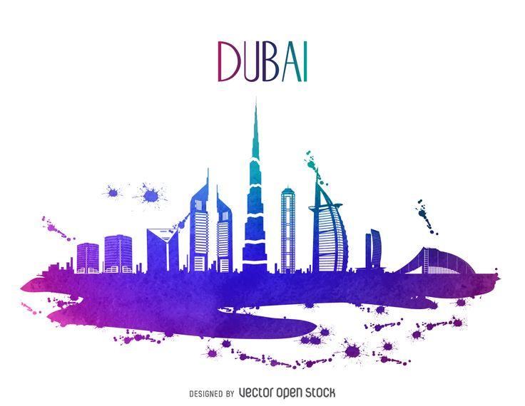 Dubai watercolor skyline silhouette