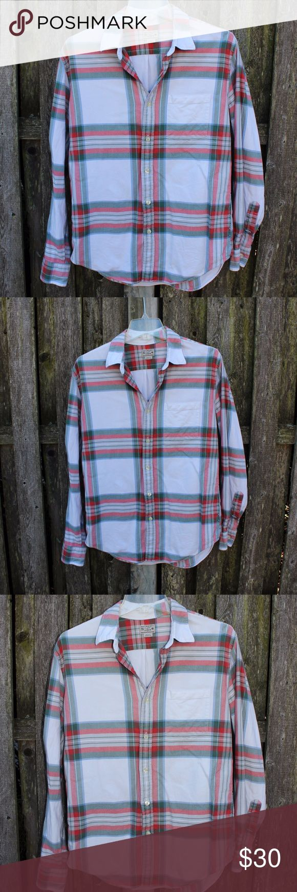 J. Crew Men's White Button-Down J. Crew Factory Men's Button-Down Flannel Type shirt. SO soft and comfortable. In very good condition. White flannel with red and green stripes - very nice for the holiday season!  100% Cotton Shirt Size Medium J. Crew Factory Shirts Casual Button Down Shirts