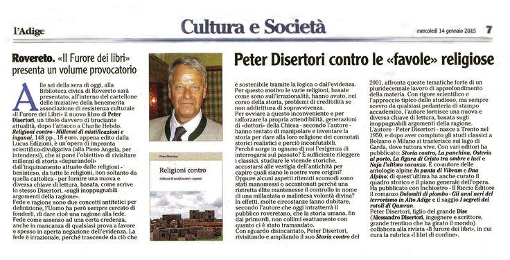 Presentazione del Libro Religioni Contro di Peter Disertori. Quotidiano Nazionale L'Adige