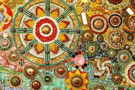 Bunte Glas Mosaik Kunst und abstrakte Wand backgr Stockfoto