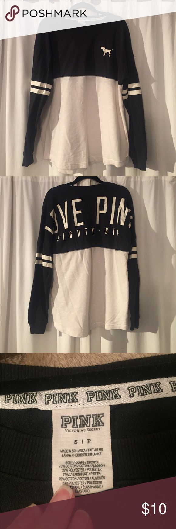 VS PINK Long sleeve pullover PINK black and white pullover PINK Victoria's Secret Tops Sweatshirts & Hoodies