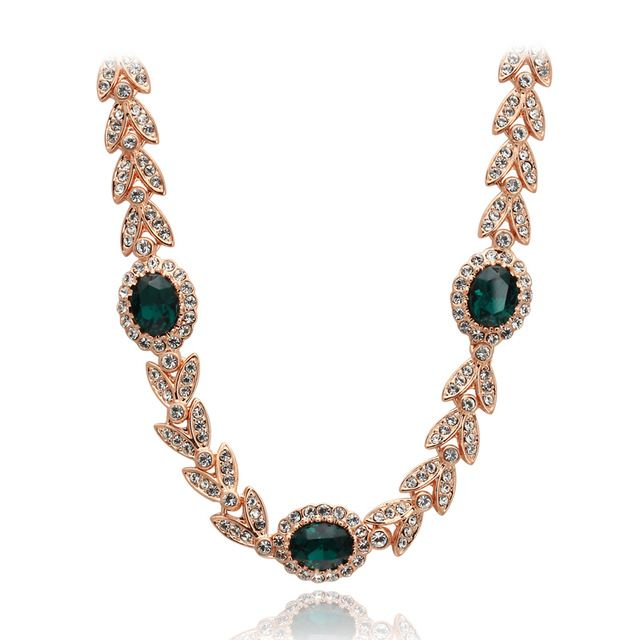 Высочайшее Качество ZYN215 Создан Изумрудно-Зеленый Кристалл Ожерелье Розовое Золото Льоны Ожерелье Ювелирные Изделия Австрийский хрусталь Оптовая