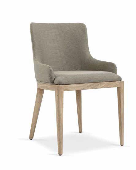 Silla tapizada para comedor en madera de roble actual, silla ...