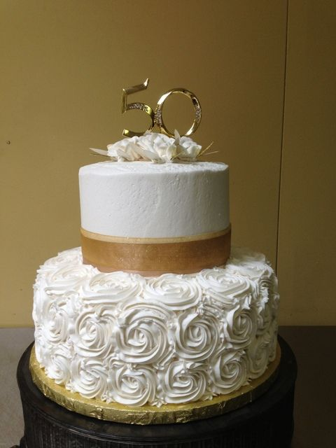 50th Wedding Anniversary Cake-Made by Glaus Bakery in Salt Lake City, UT