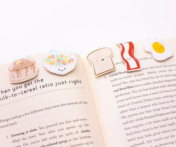 Breakfast Mini Magnetic Bookmarks by craftedvan on Etsy