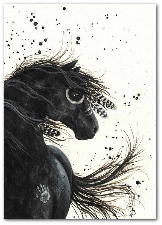 Native American Black Horse Feathers Mustang ArT - 8.5x11 Fine ArT Print by AmyLyn Bihrle